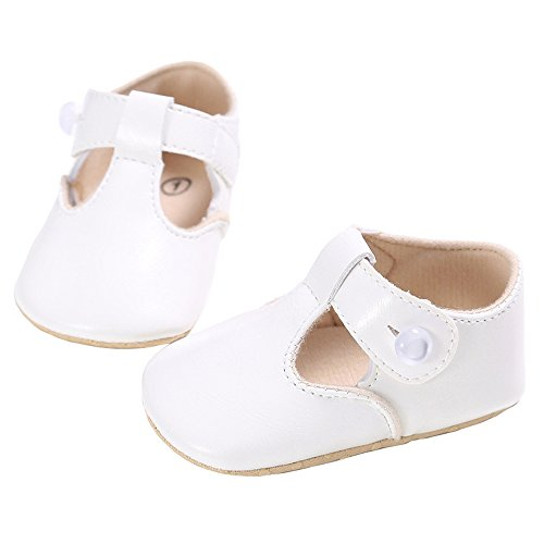 LINKEY Baby Christening Baptism Mary Jane Soft Sole Princess Dress Shoes Flat White Size (Love White Soft Sole Shoes)