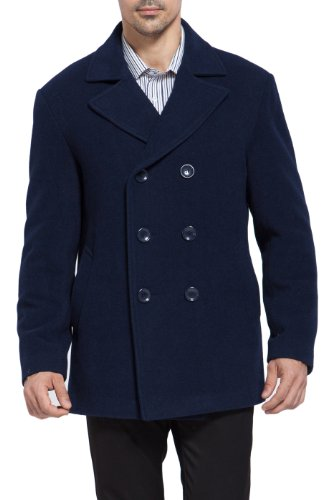 BGSD Men's Mark Classic Wool Blend Pea Coat, Navy, Small