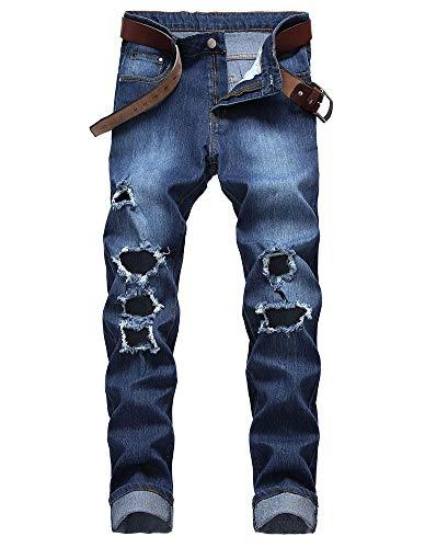 Vita Fori Dritto Pantaloni Vestibilità Slim Maschi Metà Elasticità Lavaggio Della Blue Jeans Versaces qO8xzwE