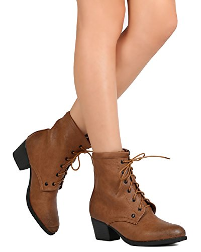C Heel Women Toe GK16 Lace Camel Chunky Labe Bootie Up Almond Leatherette 6zr6px