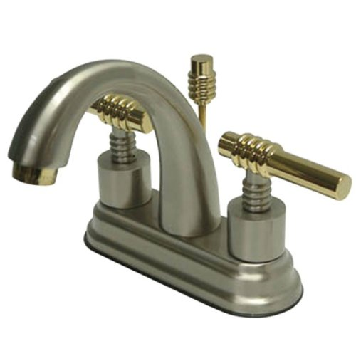 Kingston Brass KS8619ML English Country 4-Inch Deck Mount Centerset Lavatory Faucet with Brass Lever Handle, Satin Nickel and Polished - Country Mount Deck Brass