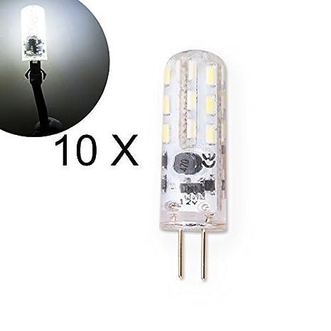 DXP 10 Bombilla LED G4 2 W AC/DC 12 V lúmenes blanco bombilla de ahorro de energía para lámparas halógenas (10) de repuesto jled07 Blanco: Amazon.es: ...