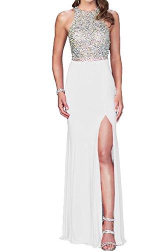 La novia de perlas de cristal de la Toscana para mujer dos-Traeger gasa por la noche vestidos de fiesta vestidos de bola Prom duro de largo blanco