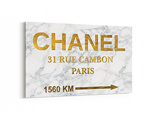 Fashion wall pop art print - Illustration - Chanel Store Distance Number 5 Prada Marfa Marble Gold - Chic Glam Vogue poster on Canvas - Prada Store Usa