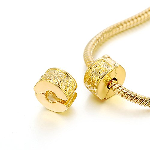 (RUBYCA 10pcs Gold Color Clip Lock Stopper Clasp Beads DIY fit European Charm Bracelet Model)