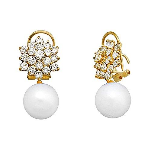Boucled'oreille or 18k zircons perle de culture de présure [AA6007]