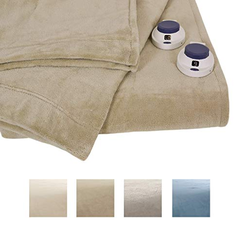 Serta | Luxe Plush Fleece Heated Electric Throw with Safe & Warm Low-Voltage Technology, (Full, Pearl)