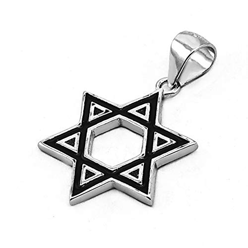 (Jerusalem Pearls Solid Silver 925 Pendant of Judaica Jewish Star of David/Magen David with Black Enamel + Free Silver Chain)