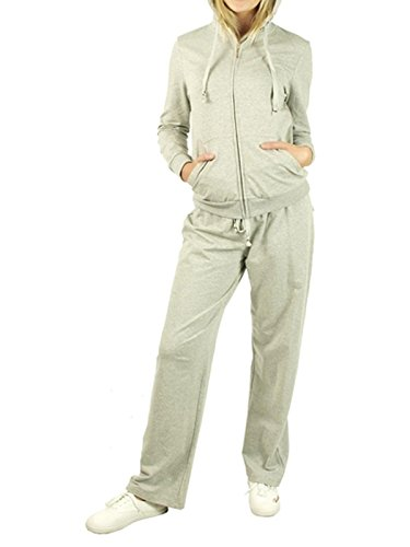 G2 Chic Women's 2 Piece Set Basic & Applique Hooded Velour Sweat Track Suit(ACT-SET,LGYA9-S)