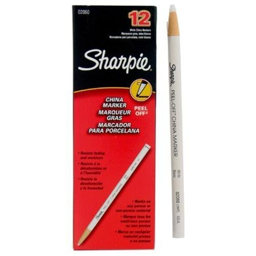 Sharpie Peel-off China Paper Marker - White Lead - White Barrel - 12 / Dozen by Irwin Tools