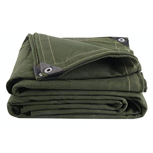 Tents GJ@ Heavy Duty Tarp,Cotton Thick Polyester Fiber Canvas Tarpaulin,with Metal Grommets, for Contractors, Campers, Painters, Farmers, Boats, Motorcycles (Color: Green)