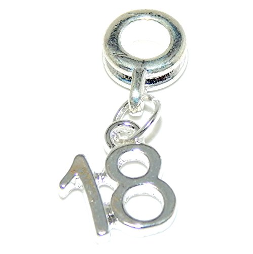 GemStorm Silver Plated Dangling Number '18' For European Snake Chain Bracelets 18' Silver Snake Chain