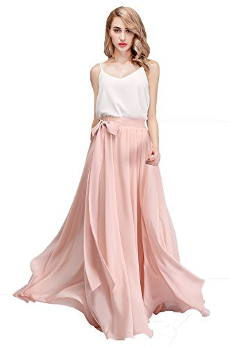 Honey Qiao Women's Chiffon Maxi Skirt Bridesmaid Dresses Long High Waist Floor/Ankle Length Elastic Woman Dresses with Belt