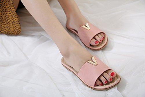 Mujer de Metal XIAOQI de Sandalias de Zapatos de Gran Pies Mujer de Moda Pantalones Confort de Zapatillas Zapatos Verano Botones Rosado de Sandalias Bohemia Playa de Tamaño Op1wx4q