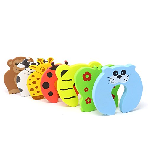 Door Cartoon - Honbay 7PCS Different Cartoon Animal Cushion Children Safety Foam Door Stopper Childproof Door Stoppers Curve Shaped Door Stopper