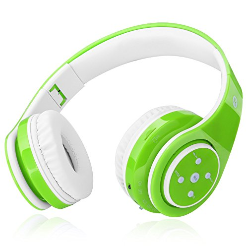 2018 New! Bluetooth Headphones for Kids, 85db Volume Limited, up to 6-8 Hours Play, Stereo Sound, SD Card Slot, Over-Ear and Build-in Mic Wireless/Wired Headphones for Boys Girls(Green)