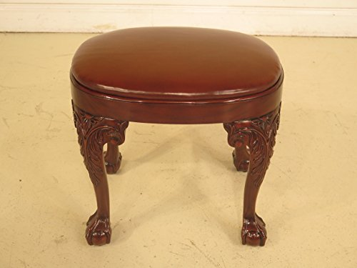 Chippendale Claw Foot Mahogany Footstool Or Ottoman model JI-33692-NWN-BRN ~ NEW by Jansen