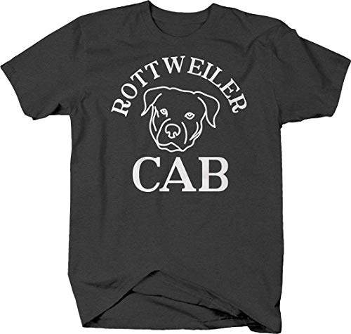 Rottweiler cab Silhouette Funny Dog pet Owner Driving car Love Tshirt Medium Gray