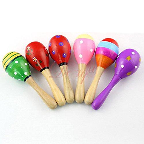 Musuntas 2 Tlg. Kinder Musikinstrument Holzrassel Hand Rassel Maracas Kinderspielzeug