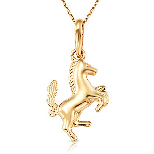 (Jewel Connection Petite Golden Horse Pendant with 18