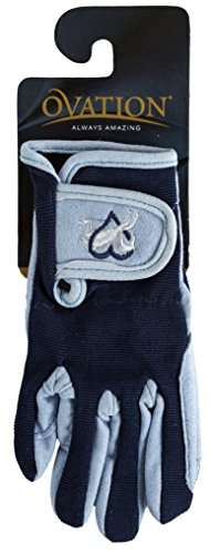 Ovation Child Heart & Horse Gloves,Sky Blue/navy Trim,size A 8-10