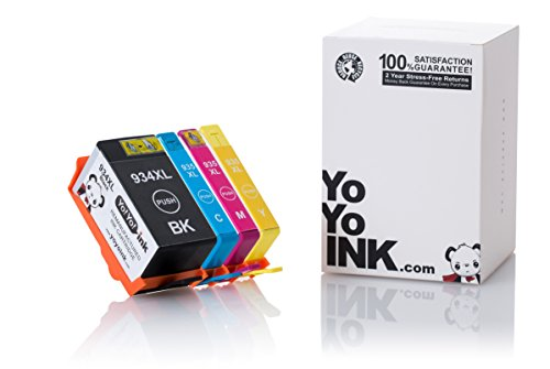 YoYoInk 4 Pack Remanufactured Ink Cartridge Replacement for HP 934XL & 935XL (1 Black, 1 Cyan, 1 Magenta, 1 Yellow) for OfficeJet 6830 6230 6835 6812