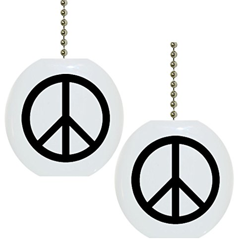 Set of 2 Black Peace Sign Ceramic Fan Pulls