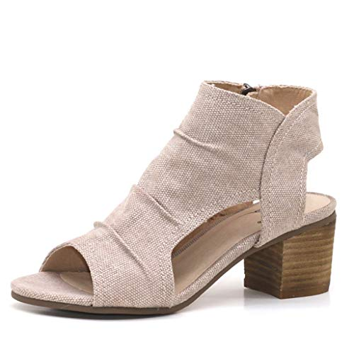 Women Genuine Leather Heels Open Toe Sandals Summer Women's Sandals Low Block Heel Shoes Sexy Back Strappy Nude