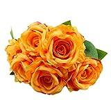 Artificial Flowers, MaxFox Fake Silk Rose Bouquet Vintage Flower Bouquets Home Office Wedding Party Decor (Orange)