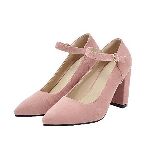 AllhqFashion Femme Fermeture d'orteil Boucle Dépolissement Chaussures Légeres Rose qYyHLy