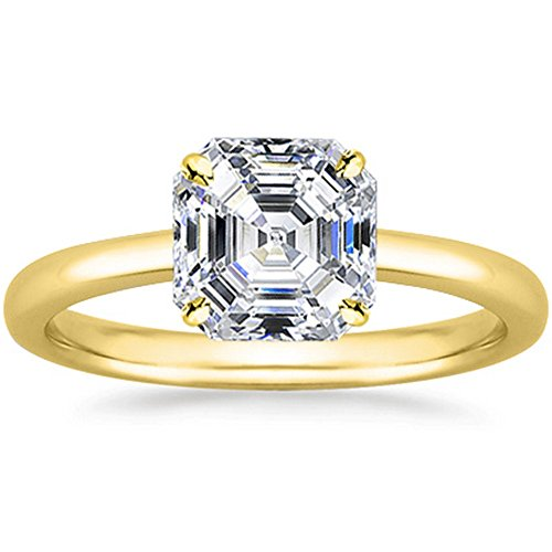 - 1.01 Carat 18K Yellow Gold Asscher Cut Solitaire Diamond Engagement Ring F-G Color VS2 Clarity