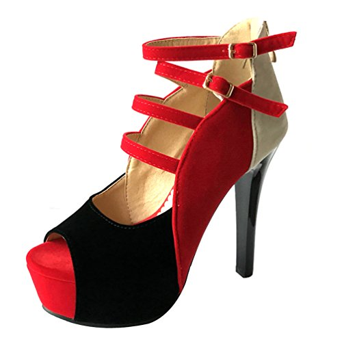 Pompe Sandalo Femminili Rosso Stiletto Aiweiyi Colore Tallone Ritagli Fibbie Cerotto adqwpAvxU