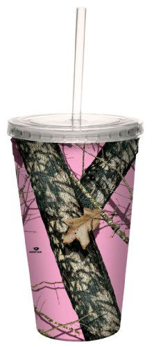(Tree-Free Greetings 80618 Pink Break Up by Mossy Oak Camo Artful Traveler Double-Walled Acrylic Cool Cup with Reusable Straw, 16-Ounce)