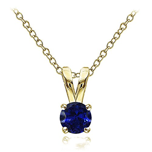 Yellow Gold Flashed Sterling Silver Created Blue Sapphire 5mm Round Solitaire Necklace