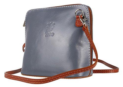 Grey mujer Dark Tan Piel cruzados de Handbags para Girly Bolso 0q8YnpP