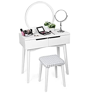 SONGMICS Vanity Makeup Table Set with Mirror and Stool 2 Sliding Drawers Dressing Table White URDT11W