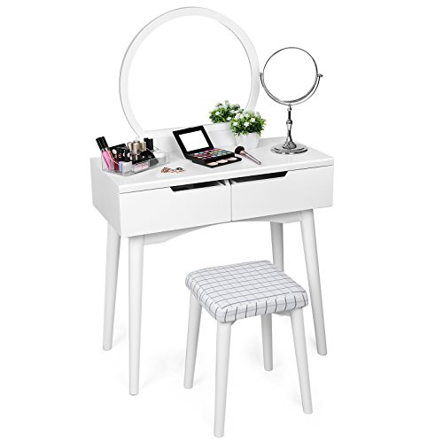 SONGMICS Vanity Table Set with Mirror 2 Large Sliding Drawers Makeup Dressing Table with Cushioned Stool White URDT11W (Vanity Drawer 2)