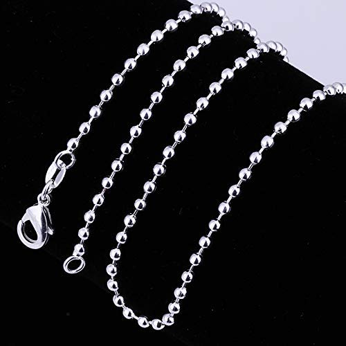 (JIEHUN Fashion Jewelry 925 Sterling Silver 2mm Beads Chain Necklace Bead Ball Chain Necklace for Men Women (24 inch))