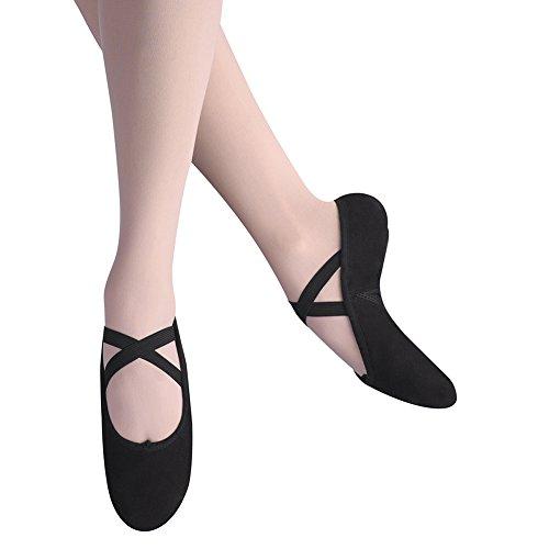 Leo Womens Arabesque Canvas Dance Shoe Nero