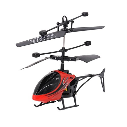 Cinhent Helicopter RC 810 2CH Mini Creative RC Radio Remote Control Aircraft Micro 2 Channel Quadcopter Night Flying Toys For Toddlers Adults (Red)