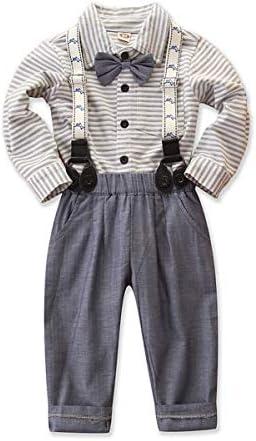 Haokaini Baby Jongen Gentleman Set Boog Tie Shirt Gestreepte Suspenders Broek voor Peuter Baby