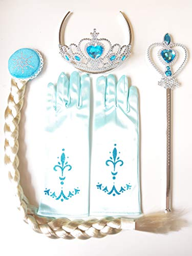 Princess Elsa Dress Up Party Costumes Accessories Set Gloves, Tiara, Wand and Braid, Lake Blue, 4 Pieces (Elsa 4 -