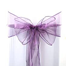 uxcell® 50pcs Organza Sashes Chair Cover Bows Sash Fuller Bow for Wedding Party Birthday Banquet Event Decoration Dark Purple