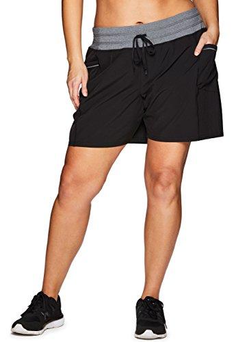 (RBX Active Women's Plus Size Woven Short w/Knit Waist Black 1X)