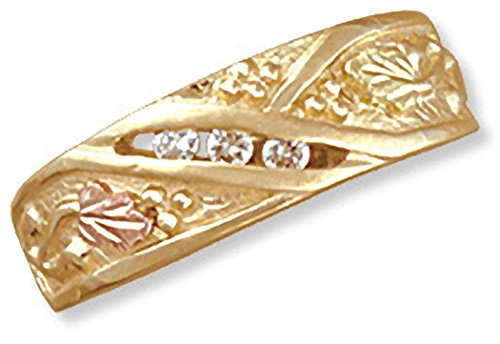 Landstroms 14K Black Hills Gold Ladies Diamond Wedding Band with 12K Leaves (.09 tw) - Size 6