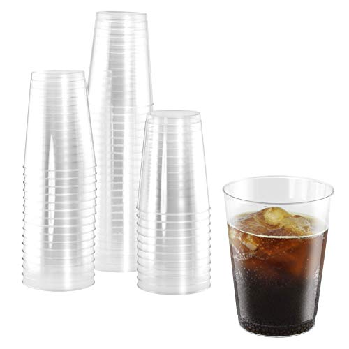 (50 Heavy Duty Disposable Cups | 10 oz. Premium Clear Hard Plastic Fancy Glasses for Parties & Weddings (50 Pack) by Bloomingoods)