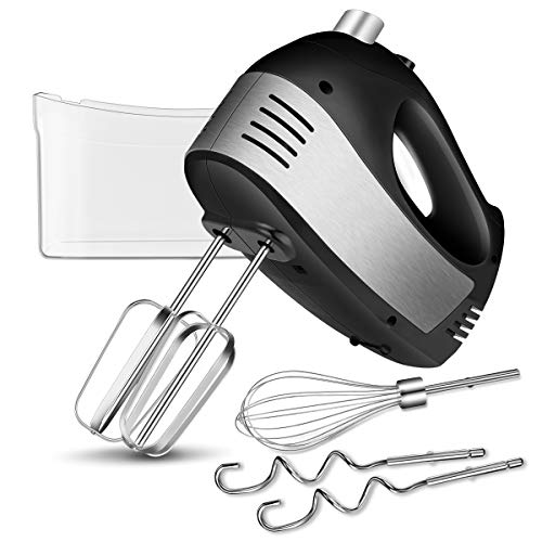 Hand Mixer Electric with Turbo Handheld, 5-Speed Hand Mixer Kitchen with 2 Wider Beaters, 2 Dough Hooks and a Balloon Whisk (Dark black)