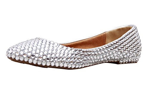Minishion MZLL030 Womens Fashion Comfortable Handmade Satin Wedding Party Evening Prom Flats Silver-crystal qLOMHig