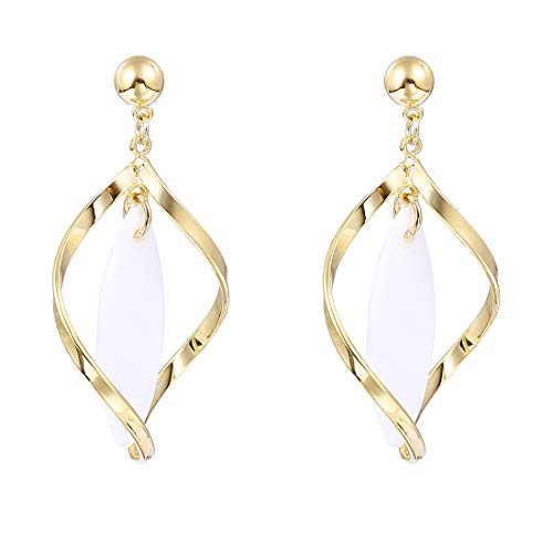 YOMEGO 14K Gold Teardrop Earrings 925 Sterling Silver Cross Earring - Super light Shell Dangle, Good Idea of Jewelry Gift for Women (Twised Tear Drop)