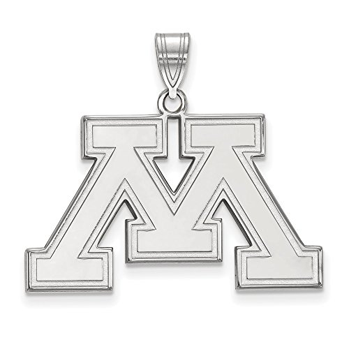 Jewelry Stores Network Minnesota Golden Gophers Outlined School Letter Logo Pendant in Sterling Silver L - (19 mm x 30 - Sterling Jewelry Silver Logo Pendant